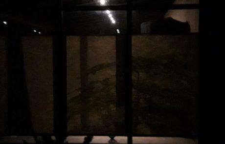 Flächenvorhang Wintergarten bei Nacht