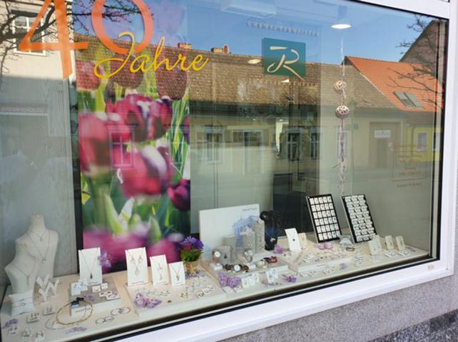 Schaufenster Tulpen Flächenvorhang